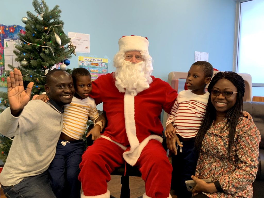 Everyone visits with Santa